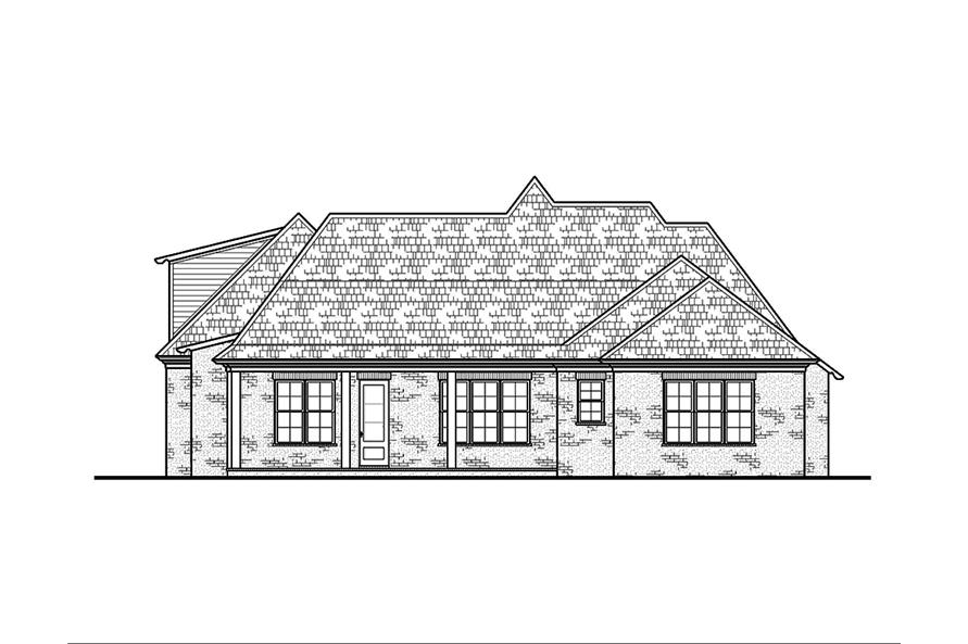 Home Plan Rear Elevation of this 5-Bedroom,3004 Sq Ft Plan -197-1003