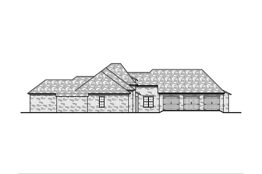 Home Plan Left Elevation of this 5-Bedroom,3004 Sq Ft Plan -197-1003