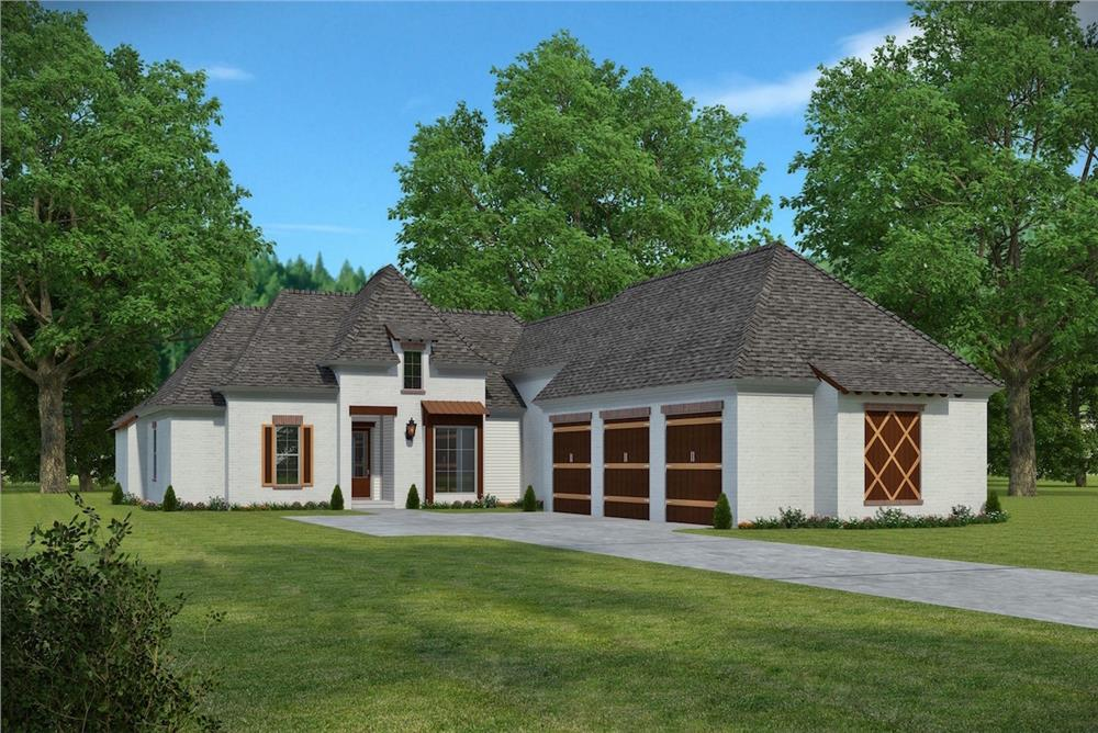 Front elevation of Acadian home (ThePlanCollection: House Plan #197-1003)