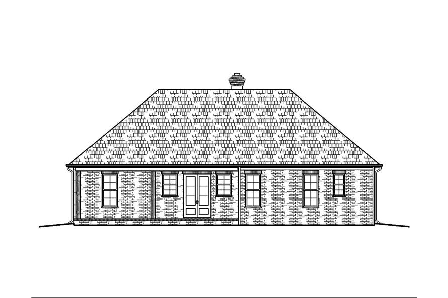 Home Plan Rear Elevation of this 3-Bedroom,1672 Sq Ft Plan -197-1004