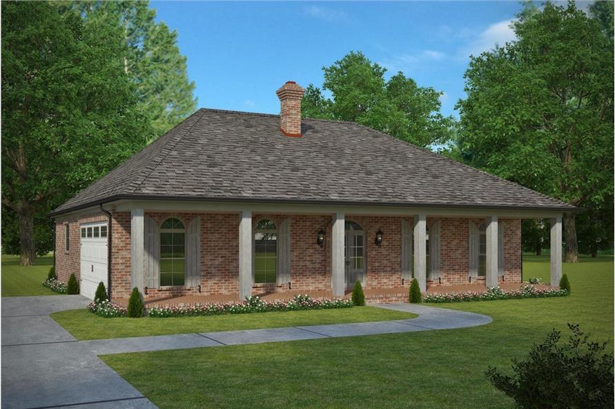 3-Bedroom, 1672 Sq Ft French House Plan - 197-1004 - Front Exterior