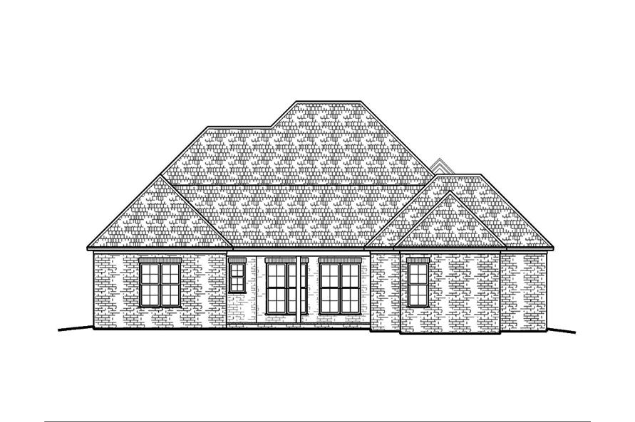 Home Plan Rear Elevation of this 4-Bedroom,2882 Sq Ft Plan -197-1005