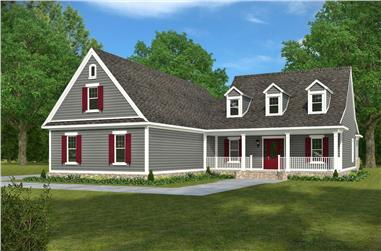 Front elevation of Acadian home (ThePlanCollection: House Plan #197-1006)