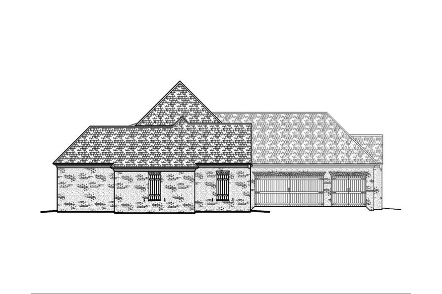 Home Plan Left Elevation of this 4-Bedroom,3453 Sq Ft Plan -197-1008