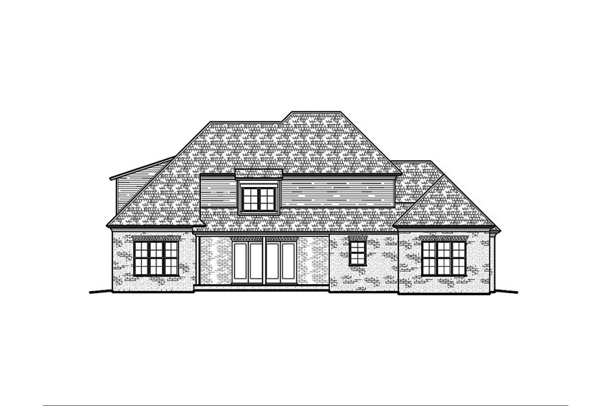 Home Plan Rear Elevation of this 4-Bedroom,3453 Sq Ft Plan -197-1008