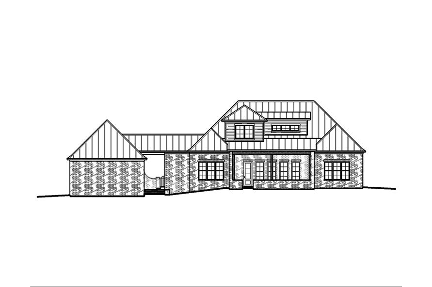 Home Plan Rear Elevation of this 5-Bedroom,3616 Sq Ft Plan -197-1009