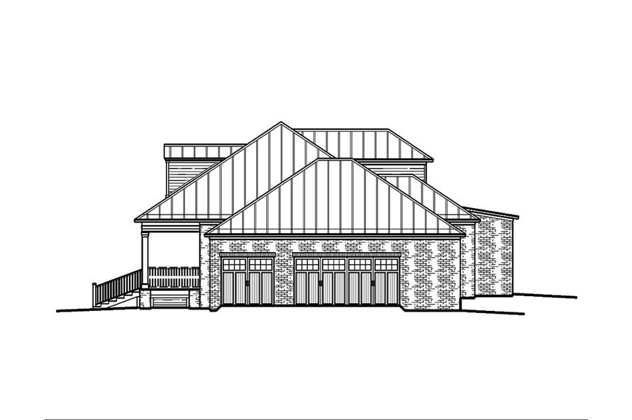 Home Plan Right Elevation of this 5-Bedroom,3616 Sq Ft Plan -197-1009