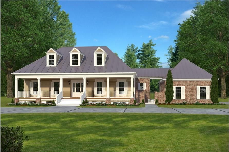 5-Bedroom, 3616 Sq Ft Acadian House Plan - 197-1009 - Front Exterior