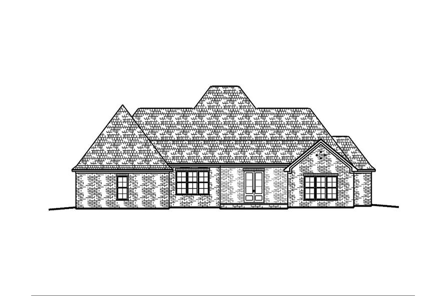 Home Plan Rear Elevation of this 4-Bedroom,2593 Sq Ft Plan -197-1011