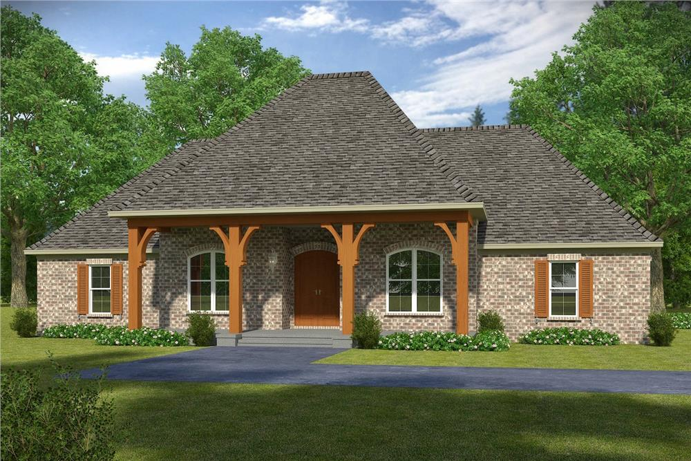Front elevation of French home (ThePlanCollection: House Plan #197-1011)