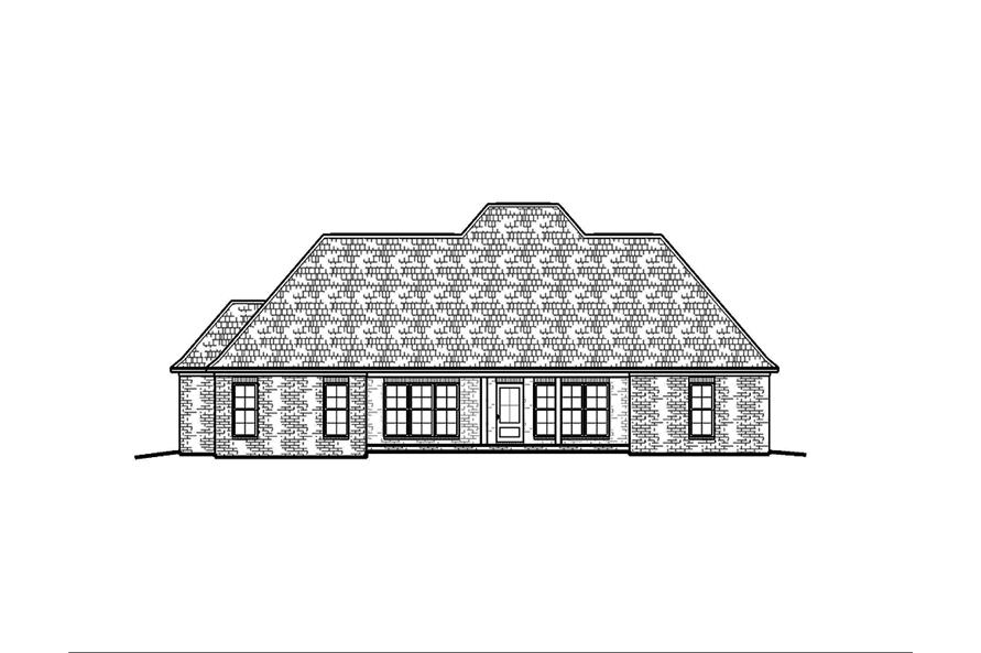 Home Plan Rear Elevation of this 4-Bedroom,2247 Sq Ft Plan -197-1012