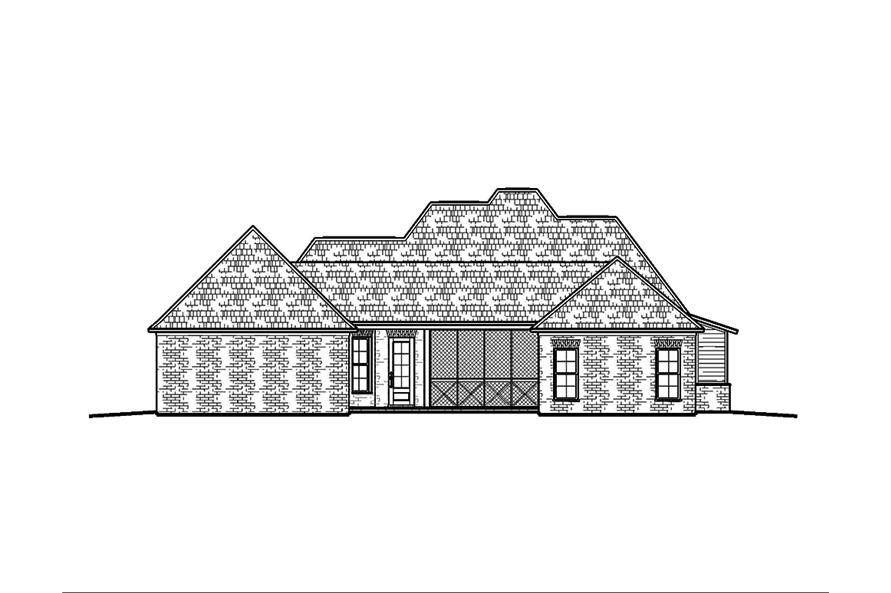 Home Plan Rear Elevation of this 4-Bedroom,2460 Sq Ft Plan -197-1018