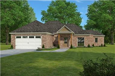 3-Bedroom, 1649 Sq Ft French House Plan - 197-1020 - Front Exterior