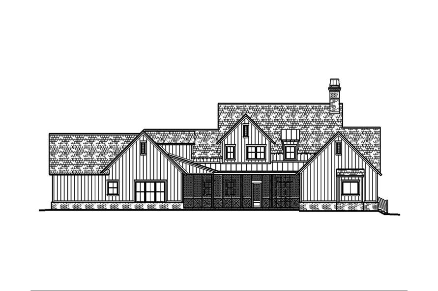 Home Plan Rear Elevation of this 5-Bedroom,3775 Sq Ft Plan -197-1023