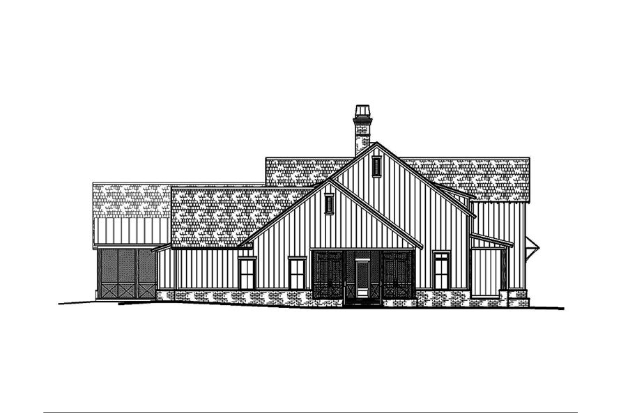Home Plan Left Elevation of this 5-Bedroom,3775 Sq Ft Plan -197-1023