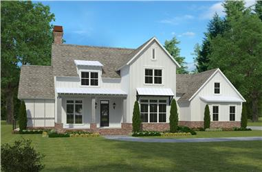 Color rendering of Farmhouse home plan (ThePlanCollection: House Plan #197-1023)