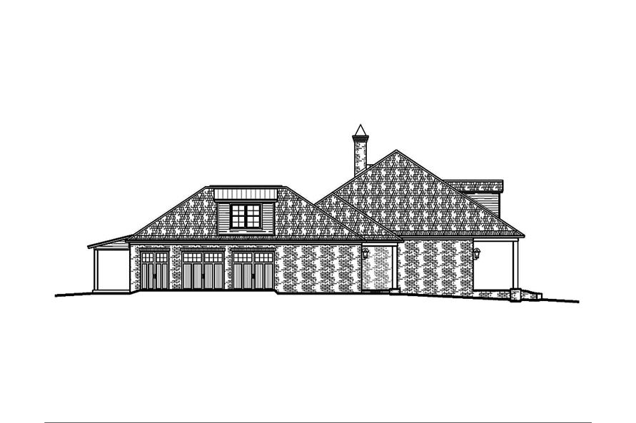 Home Plan Left Elevation of this 3-Bedroom,2964 Sq Ft Plan -197-1024