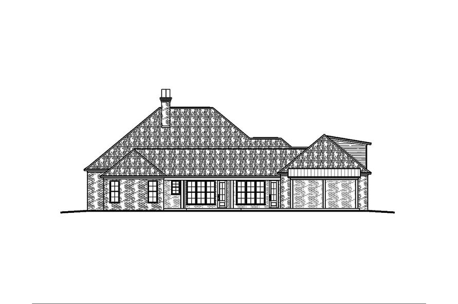 Home Plan Rear Elevation of this 3-Bedroom,2964 Sq Ft Plan -197-1024