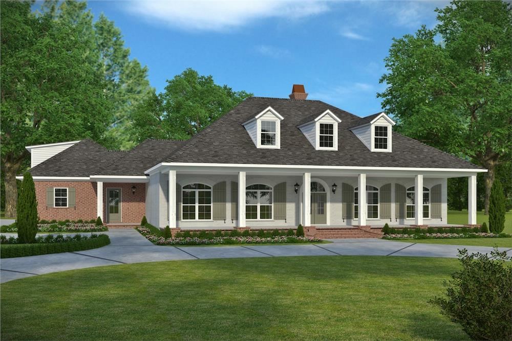 Front elevation of Acadian home (ThePlanCollection: House Plan #197-1024)