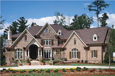 4-Bedroom, 3944 Sq Ft European House Plan - 198-1003 - Front Exterior