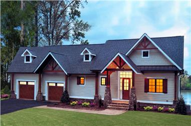 Front elevation of Craftsman home (ThePlanCollection: House Plan #198-1013)