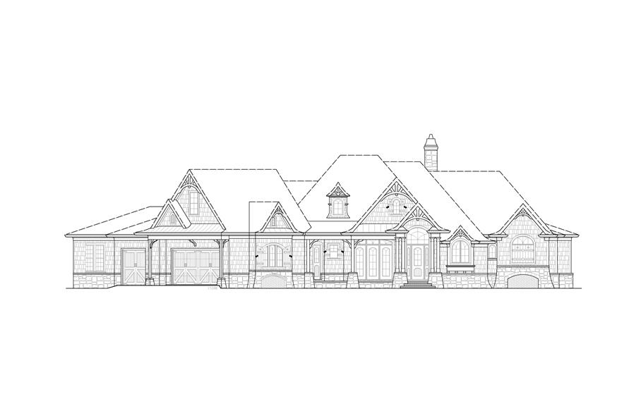 Home Plan Front Elevation of this 4-Bedroom,3773 Sq Ft Plan -198-1015
