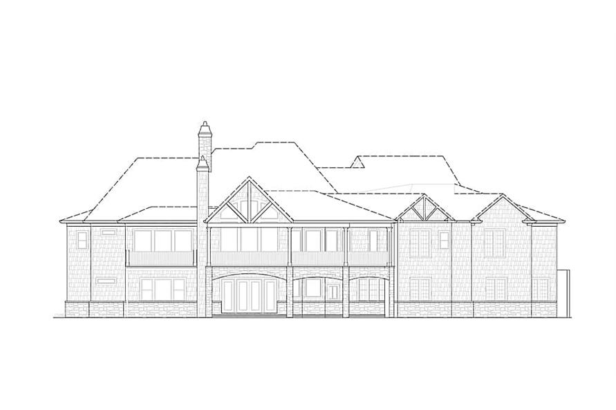 Home Plan Rear Elevation of this 4-Bedroom,3773 Sq Ft Plan -198-1015