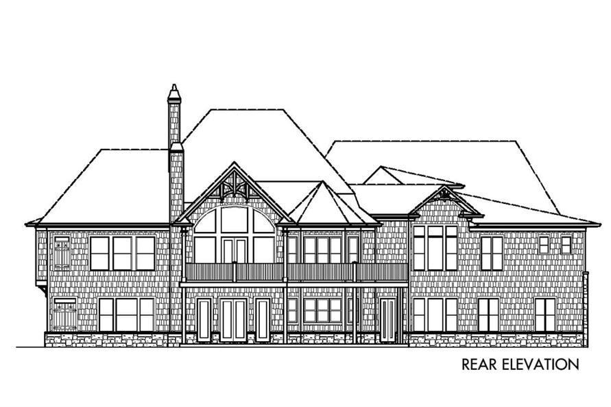 Home Plan Rear Elevation of this 3-Bedroom,3128 Sq Ft Plan -198-1016