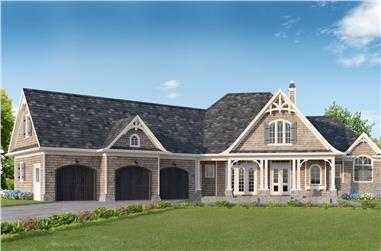 3-Bedroom, 3128 Sq Ft Cottage House Plan - 198-1016 - Front Exterior
