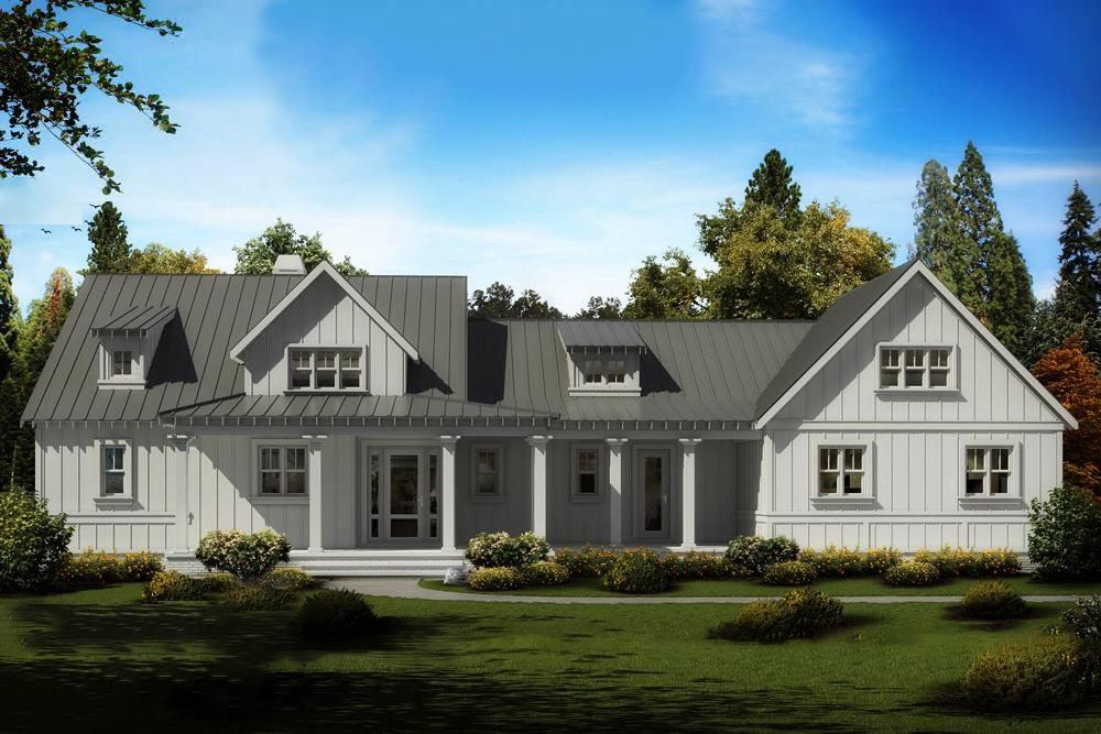 Photo-realistic rendering of Cottage home plan (ThePlanCollection: House Plan #198-1019)