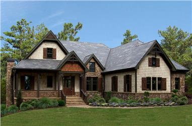 Front elevation of Ranch home (ThePlanCollection: House Plan #198-1031)