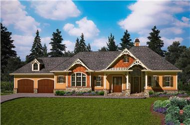 Front elevation of Craftsman home (ThePlanCollection: House Plan #198-1048)
