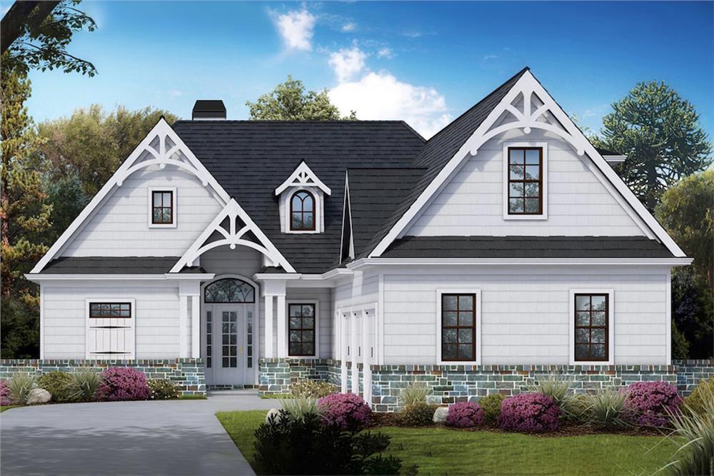 Farmhouse home (ThePlanCollection: House Plan #198-1053)