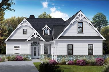 Front elevation of Farmhouse home (ThePlanCollection: House Plan #198-1053)