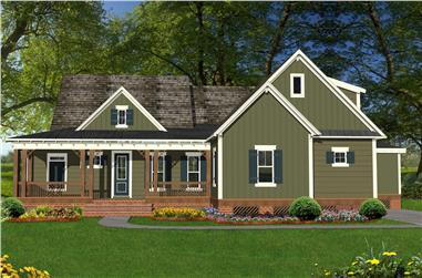 Front elevation of Coastal home (ThePlanCollection: House Plan #198-1055)