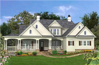Front elevation of Cottage home (ThePlanCollection: House Plan #198-1058)