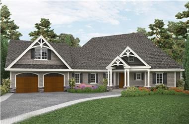 Front elevation of Cottage home (ThePlanCollection: House Plan #198-1059)
