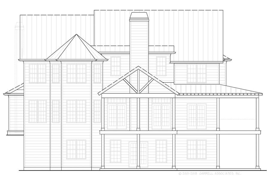 Home Plan Rear Elevation of this 5-Bedroom,3314 Sq Ft Plan -198-1068