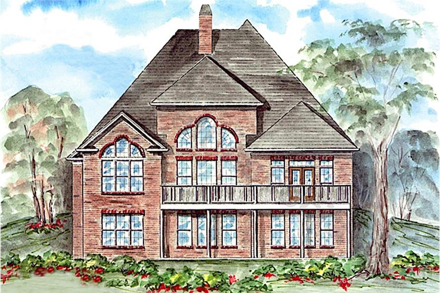 Home Plan Rear Elevation of this 3-Bedroom,2989 Sq Ft Plan -198-1081