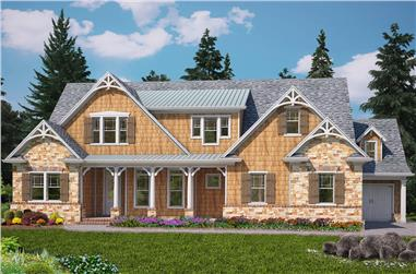 Front elevation of Bungalow home (ThePlanCollection: House Plan #198-1084)