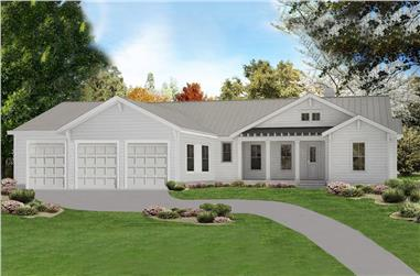 3-Bedroom, 1946 Sq Ft Cottage Home Plan - 198-1091 - Main Exterior