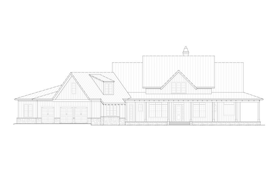 Home Plan Front Elevation of this 4-Bedroom,3954 Sq Ft Plan -198-1093