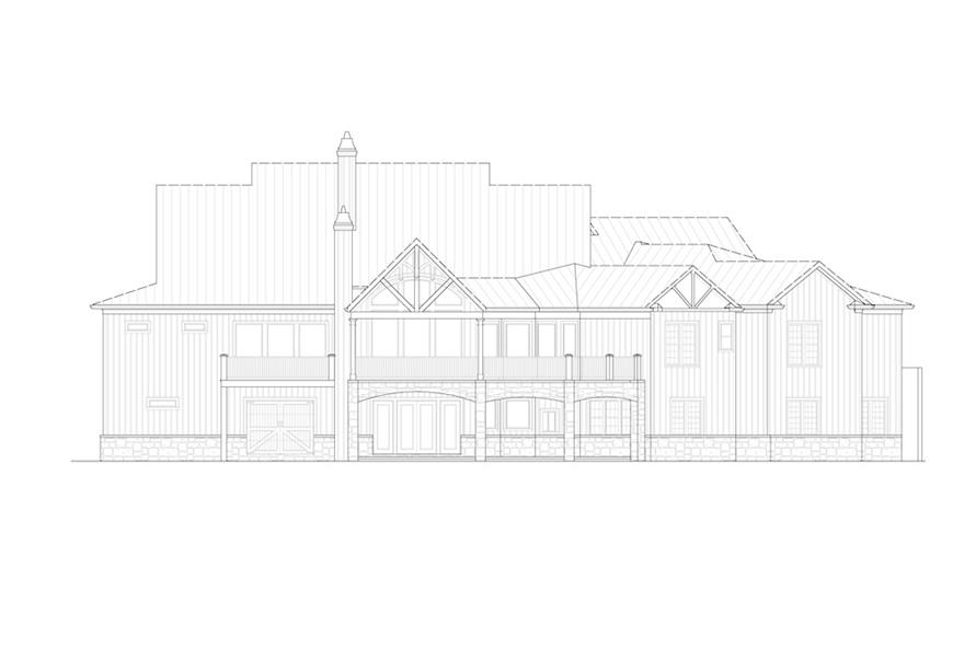 Home Plan Rear Elevation of this 4-Bedroom,3954 Sq Ft Plan -198-1093