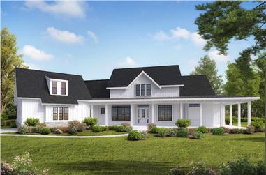 4-Bedroom, 3954 Sq Ft Transitional Farmhouse House - Plan #198-1093 - Front Exterior