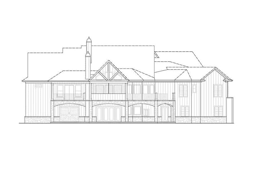 Home Plan Rear Elevation of this 3-Bedroom,3696 Sq Ft Plan -198-1095