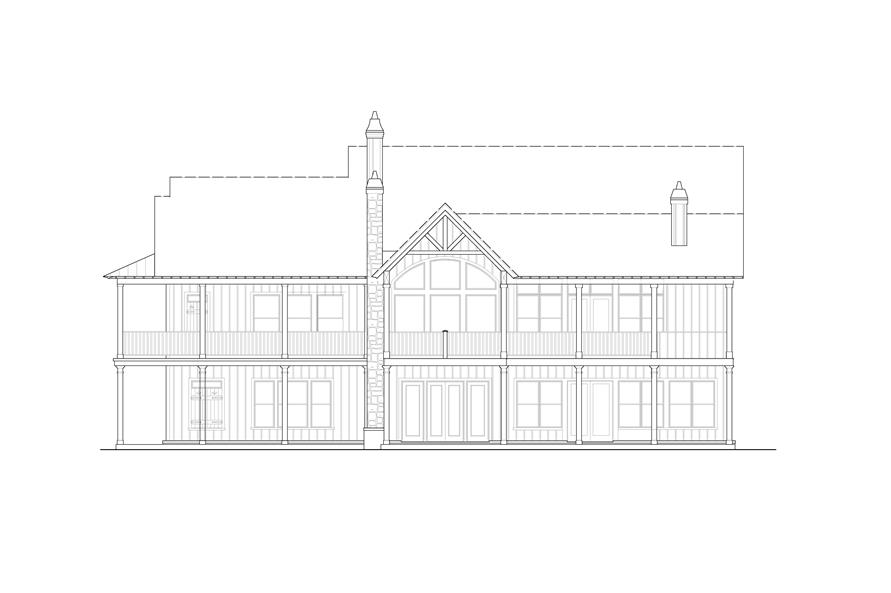 198-1113: Home Plan Rear Elevation