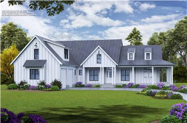 5-Bedroom, 3745 Sq Ft Farmhouse Home Plan - 198-1113 - Main Exterior