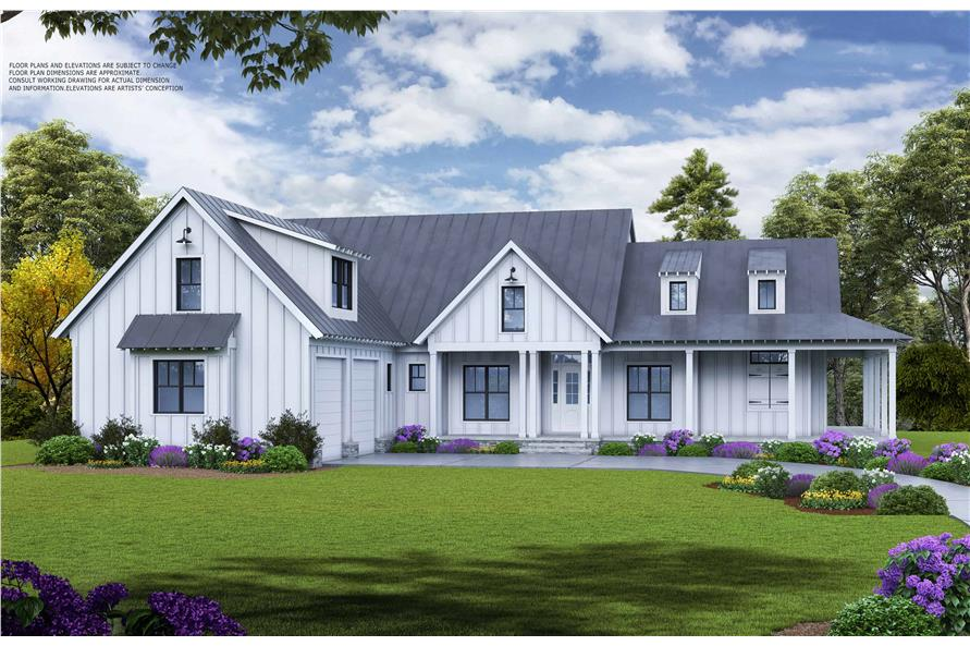 Front elevation of Farmhouse home (ThePlanCollection: House Plan #198-1113)