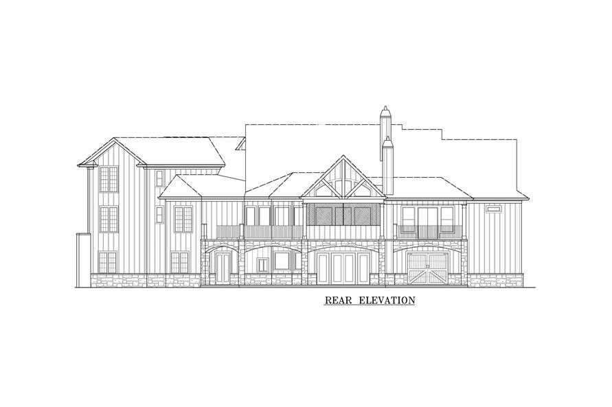 Home Plan Rear Elevation of this 3-Bedroom,3730 Sq Ft Plan -198-1116