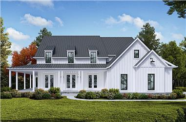 5-Bedroom, 3261 Sq Ft Farmhouse Home Plan - 198-1127 - Main Exterior